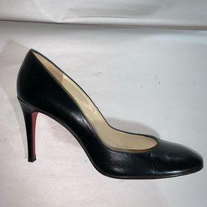CHRISTIAN LOUBOUTIN size 38 black calfskin PUMPS